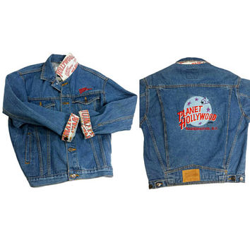 90s Denim Jean Jacket Planet Hollywood Washington D.C. Vintage Embroidered Patch Grunge Hip Hop Clothing 80s