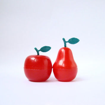 Vintage Soviet Salt and Pepper Shakers / Cute Red Apple and Pear Set, Circa 1970's