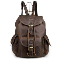 Crazy Horse Leather Men's Travel Backpack Bag Coffee Color_Backpacks_Men's Leather Bags