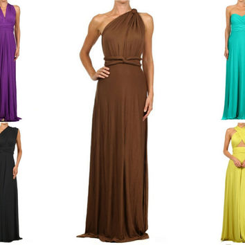 Bridesmaid Infinity Dress Flirty Convertible Multi Way Twist Wrap 8 Ways to Wear Maxi Full Length
