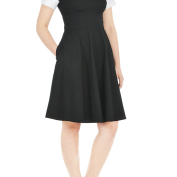Contrast collar poplin dress