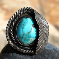 Navajo Leaf Design Turquoise Ring Sterling Silver