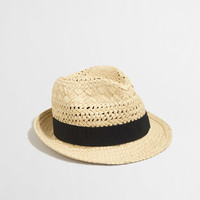 Factory open-weave ribbon fedora : Hats | J.Crew Factory