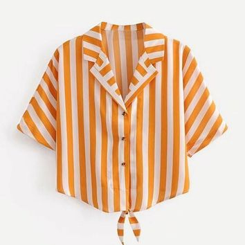 Contrast Striped Knotted Blouse