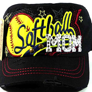 Hats & Caps Rhinestone Softball Mom Cadet Hats Fashion - Black - By TheTargetBuys