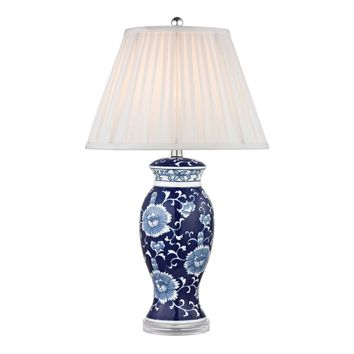 Hand Painted Ceramic Table Lamp In Blue And White With Acrylic Base Blue,White