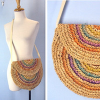 1980s Straw Purse / 80s Woven Circle Straw Purse
