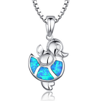 Sterling Silver Ducky W. Blue and Green Fire Opal Pendant Necklace