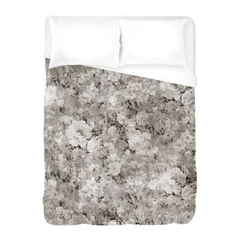 Black White Flowers Duvet Cover
