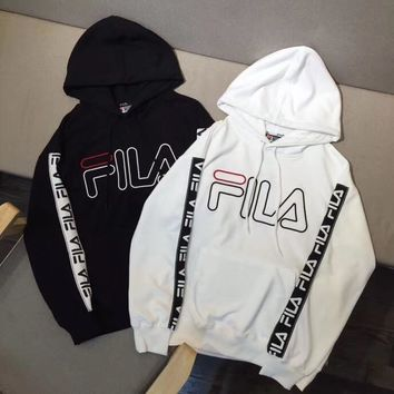 FILA Print Hooded Pullover Tops Sweater Sweatshirts