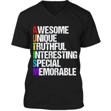 Awesome Autism T-Shirt Mens Printed V-Neck T