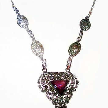 "Edwardian Amethyst Pendant Necklace Sterling Silver Paper Clip Filigree Chain 17"" vintage"