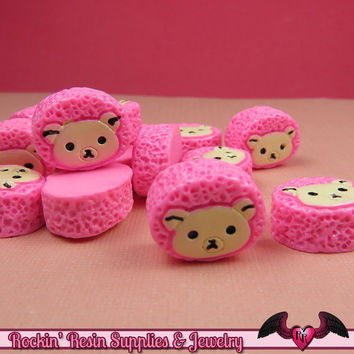 5 pcs BEAR HEAD Sweet Roll Bun   Resin Decoden Kawaii Flatback Cabochons 14 x 17mm