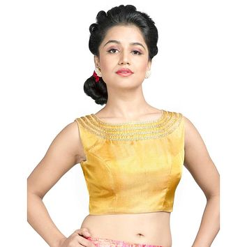 Designer Indian Traditional Gold Tissue Padded  Sleeveless Saree Blouse Choli (X-496A.S)