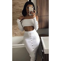 Rooftop Cocktails Long Sleeve Off The Shoulder Crop Top Button High Waist Ribbed Bodycon Bandage Two Piece Midi Dress - 2 Colors Available