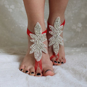rhinestone red ribbon binding,sandals,wedding shoes,bridal accesories,wedding foot jewelry,bridal anklet,wedding accessory
