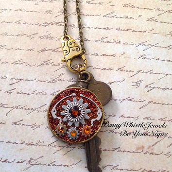 Steampunk Necklace, Steampunk Jewelry, Steampunk Watch Necklace, Antique Brass, Steam Punk Pendant, Steampunk, Steam Punk
