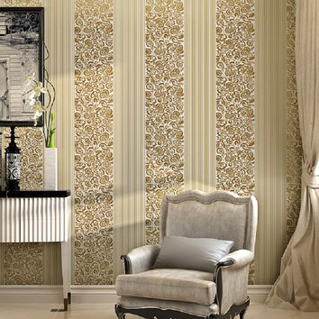 Hot selling Stripe with flowers wallpapers Vintage Classic  French Modern Feature Wall paper Roll  Bedroom papel de parede 5M