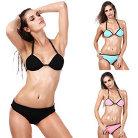 Halter Neoprene Bikini Set Swimwear