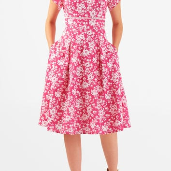 Rose print cotton banded empire dress