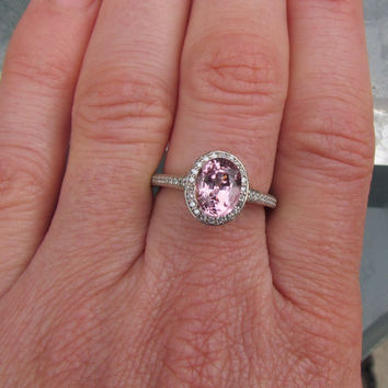 Engagement Ring 14k White Gold Diamond Halo with Pale Pink Oval Spinel Centre Gemstone Morganite Alternative