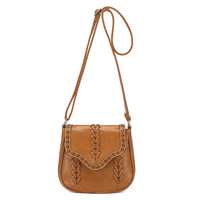 Brown Faux Leather Braided Design Cross-body Bag