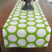 Lime Table Runner, Chartreuse Table Runner, Lime Polka Dot, Green Home Decor, Spring Decor, St. Patrick's Day,  Lime Wedding Table Runner