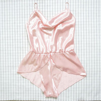 90's Lingerie, Baby Pink Shimmering Satin Romper/ Teddy,  Cyber Angel, Babe, Lolita, Aesthetic, Minimalist, Tumblr