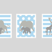 Safari Animals Blue and Gray Print, Boy Nursery, CUSTOMIZE YOUR COLORS, 8x10 Prints, set of 3, nursery decor nursery print art baby decor