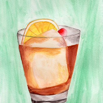 Old Fashioned Watercolor Painting, Whiskey and Bourbon Painting, Bar Art