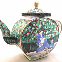 Camille Monet Mother and Child Miniature Porcelain Teapot 3.5H