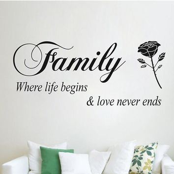 Family Where Life Begins Love Never Ends Quotes Wall Stickers home decor Flower Rose wall decals Living Room Bedroom Decoration