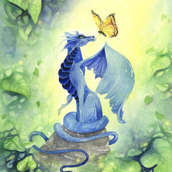 Dragon Art Print - 8.5x11 - Little Blue Dragon - fantasy. whimsical. wings. jewel tones. emerald. ultramarine. butterfly. woodland.