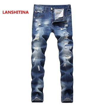 LANSHITINA Mens High Street Ripped Denim Biker Jeans Brand Men Stretch Skinny Moto Pencil Jeans Distressed Moto Biker Blue Jean