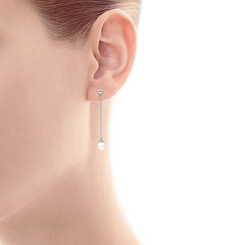 Tiffany & Co. - Ziegfeld Collection drop earrings in sterling silver with pearls.