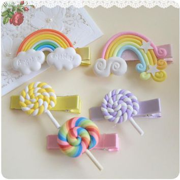 Polymer Clay Stereo Cartoon Rainbow Lollipop Baby Girl Hair Clip Hairpin Toddler Kid Children Hair Accessories Headwear kk1007
