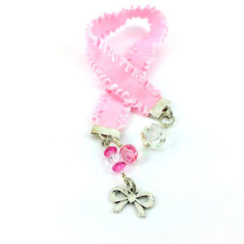 Pink Ribbon Bookmark - Pretty Bookmark - Silver Bow Charm - Pink Crystals - Girly Bookmark - Girly Ribbon - Book Thong - Frilly bookmark