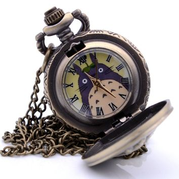 Small Size Antique Vintage Steampunk My Neighbor Totoro Mens Quartz Pocket Watch Pendant Necklace Kids Toys relogio de bolso