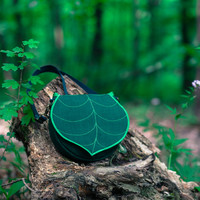 Leaf Saddle Bag, Dark Green Leaf Crossbody Bag, Spring Purse, clip on strap, Waterproof Crossbody Purse, Cordura Handbag, Satchel, Pouch