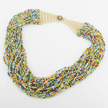 2014 Handmade Mix Color Strand Multilayer Seed Beads Pendant Necklace Fashion Jewelry Free Shipping