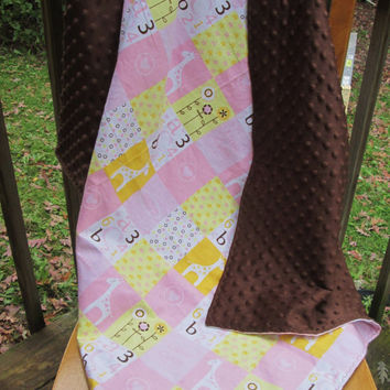 Baby Girl Pink Giraffe Flannel and Chocolate Minky Extra Large Reversible Receiving or Swaddling Blanket, Double Layer