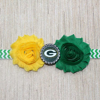 NFL Greenbay Packers inspired headband- perfect for football season!  Green Bay Packers Baby Headband!