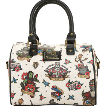 Loungefly Marvel Guardians Of The Galaxy Tattoo Print Barrel Bag