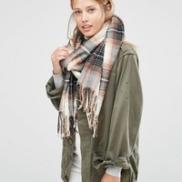 Pieces Woven Check Scarf at asos.com