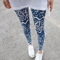 Zigzag Pattern Skinny Leggings Blue [313]