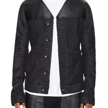 V-Neck Leather Combo Jacket