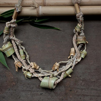 Knitted statement necklace with bamboo beads, beige light green, OOAK