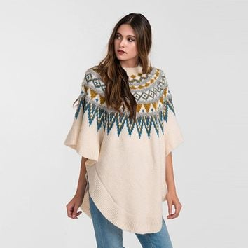 Tribal Poncho with Silver Textured Trim