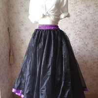 Black Purple Tulle skirt. long Tulle Skirt. Ball Dance Costumes. Ballet Skirt. Ball Gowns. Organza Women Skirt. Plus size xxxl 3xl(T2824)