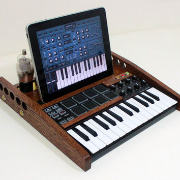 iPad Tablet MUSIC Workstation - MIDI Keyboard Pads And Knobs  - Tube Model Steampunk - Oak -  Music Making Machine